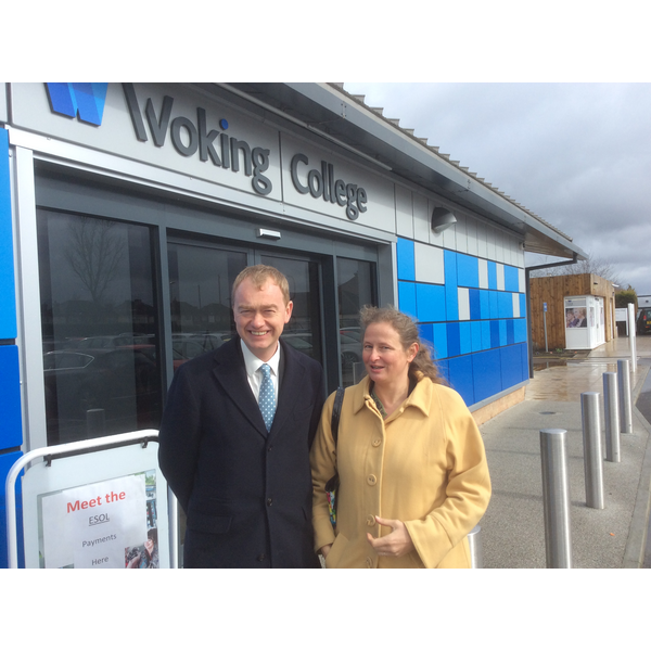 Tim Farron with Local Campaigner Louise Morales at Woking College
