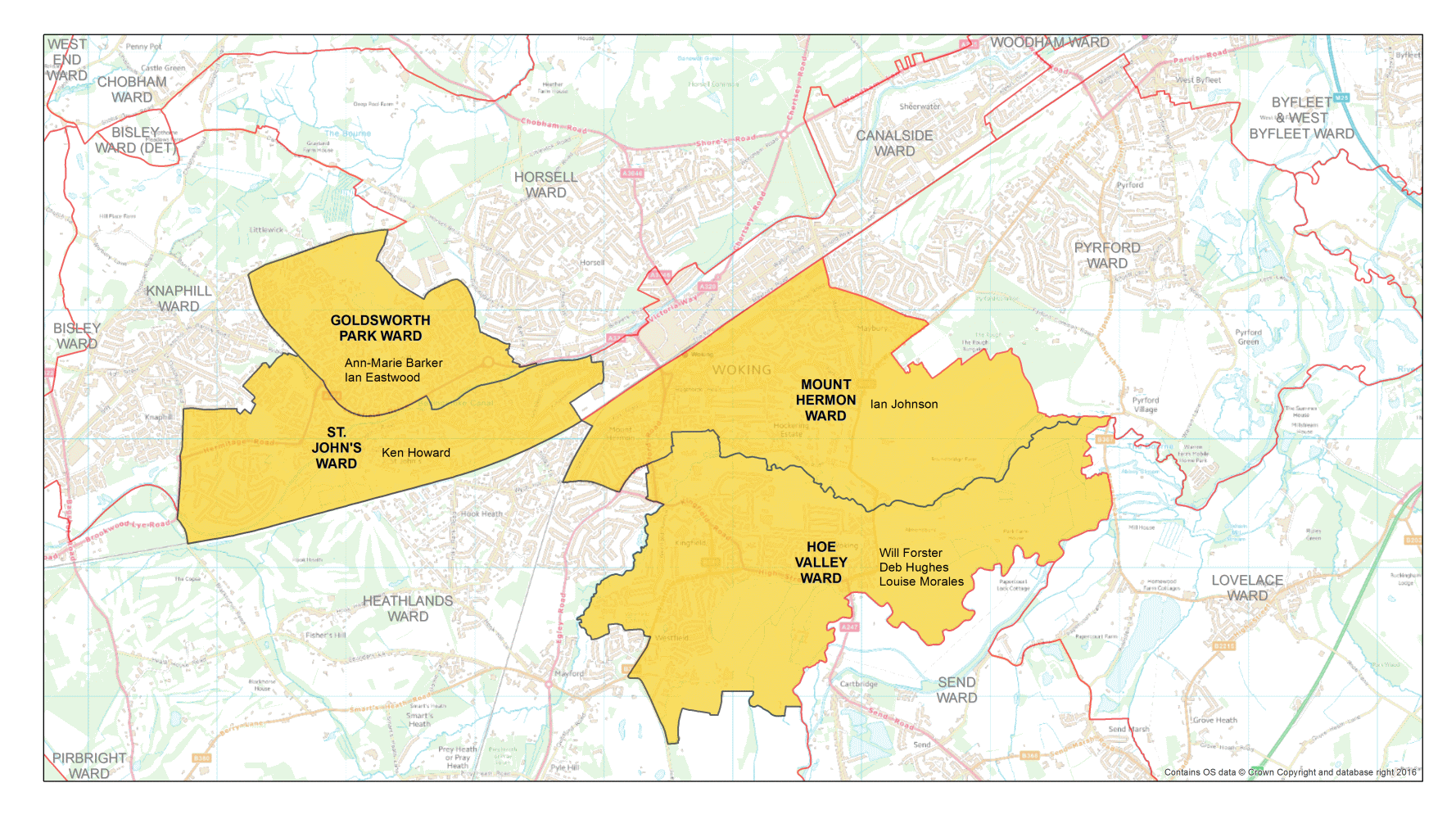 Map of local Ward Boundaries - Woking (Contains OS data © Crown Copyright and database right 2016)