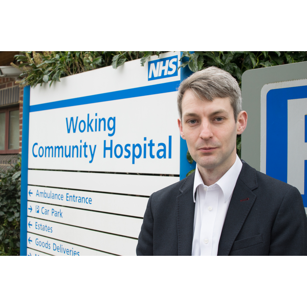 Will Forster supporting NHS hospital in Woking