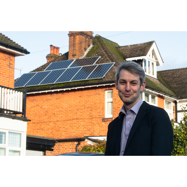 Will Forster with solar panels