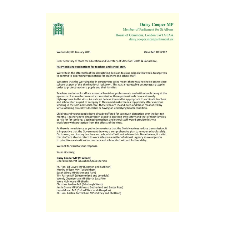 Letter from Daisy Cooper MP