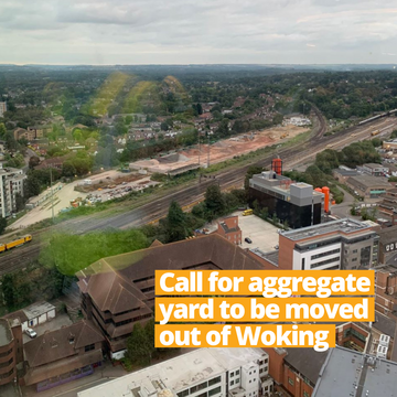 Aggregates Yard in Woking from the partially completed tower buildings