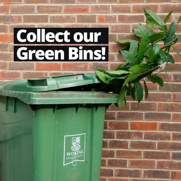 Woking Council green bin overflowing - collect our bins!